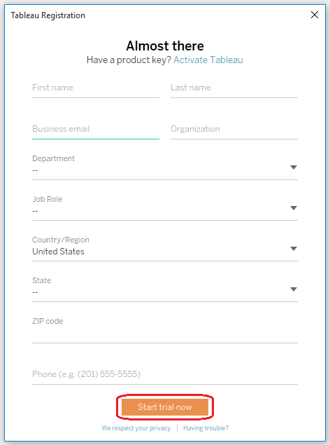 Activating A Free Trial Tableau Software