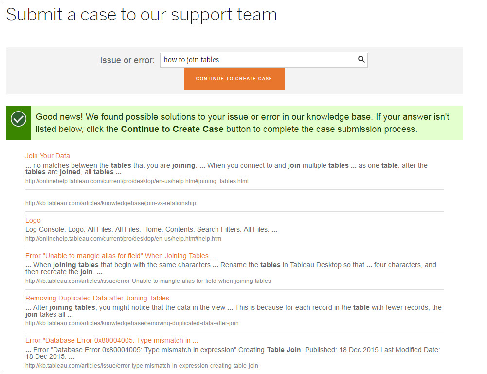 Submitting a Case From the Webform | Tableau Software