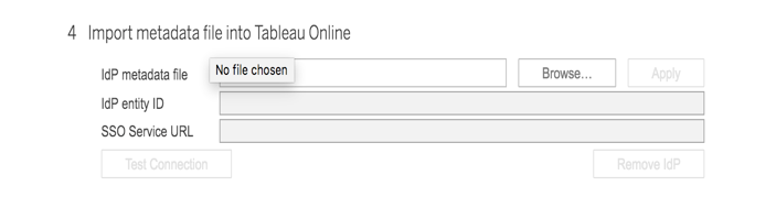 Screenshot of Import metadata file into Tableau Online