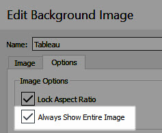 A screenshot of the Edit Background Image dialog box with Always Show Entire image highlighted and checked